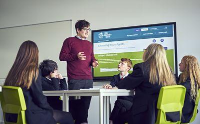 Careers adviser talking to pupils