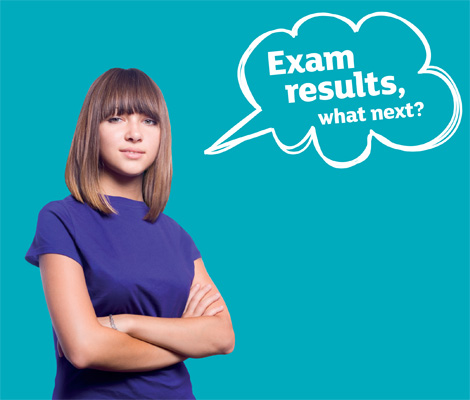 Image of a teenager with a thought bubble reading 'Exam results, what next?'