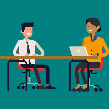 Graphic of an SDS careers adviser helping a student.