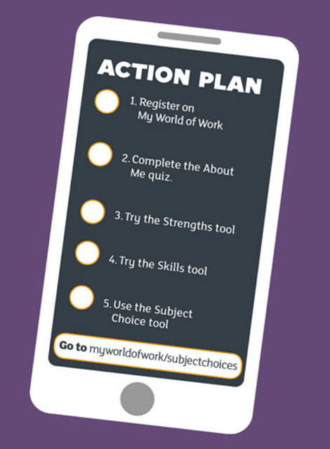 Graphic of a phone with subject choice action plan