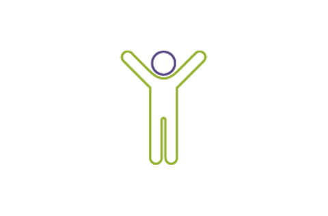 Graphic of a person raising their arms