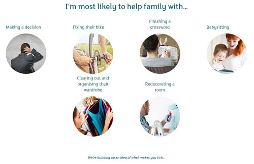 A screengrab from the About me tool. The question reads 'I'm most likely to help family with' and includes various options as answers.