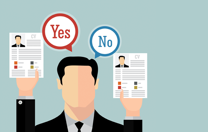 A graphic of a man holding up two CVs, saying 'yes' to one but 'no' to the other
