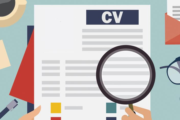 Graphic showing CV on a table, someone is inspecting the CV