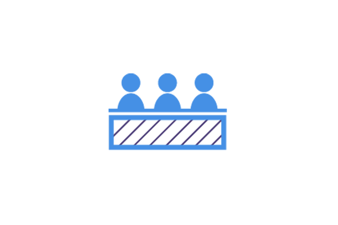 Interview icon showing three people on an interview panel