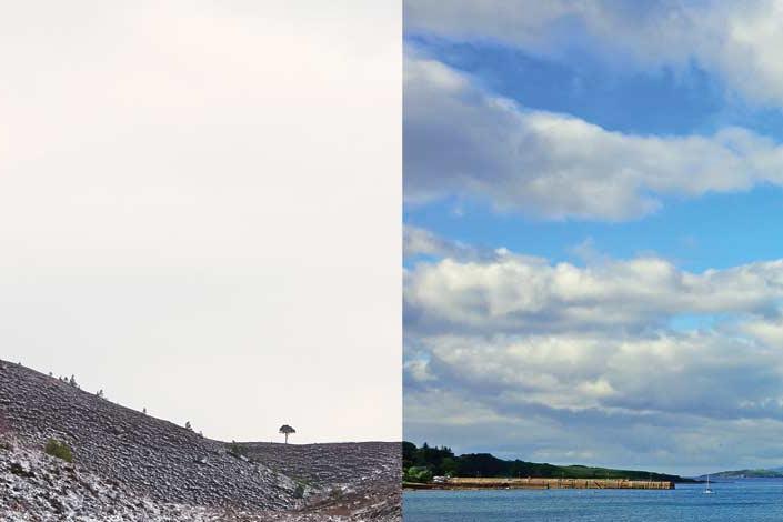 A winter scene and a summer scene from Scotland