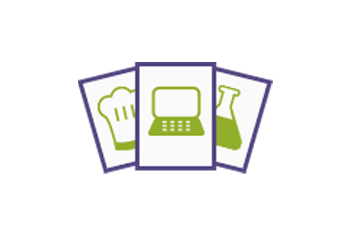 Skills icon showing cards with chef hat, laptop, and test tube